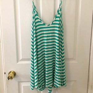Green and white striped sundress